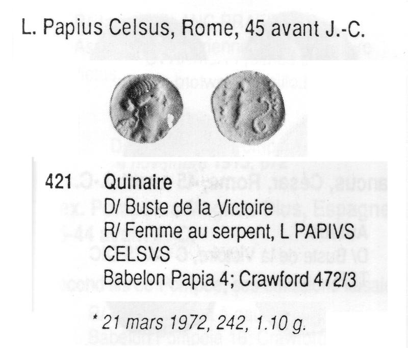 Quinaire de L.Papius Celsus famille papia (45 avjc) Crawfo10