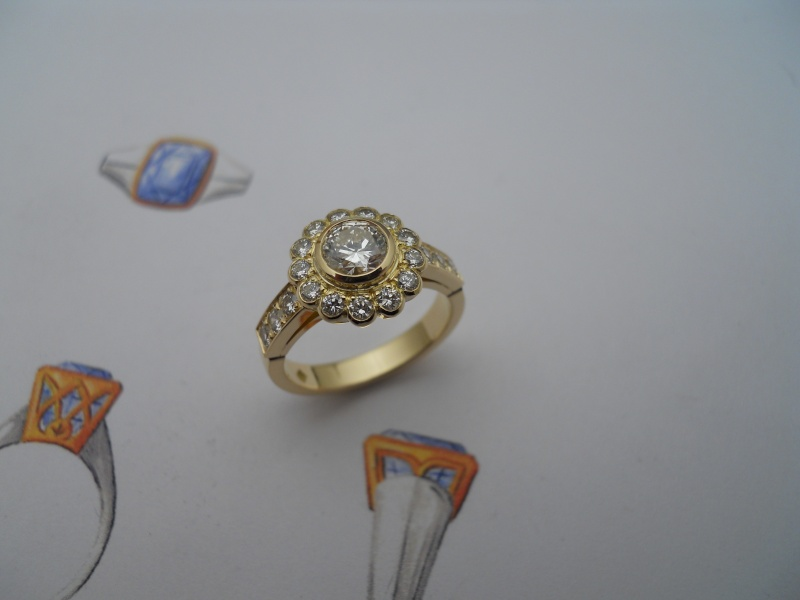 Bague entourage diamants........ 04810