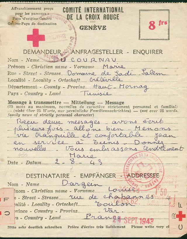 message familial de tunisie vers la france via la croix rouge suisse Lettre17