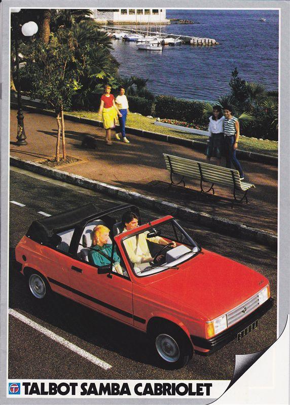 Catalogue commercial Samba Talbot Cabriolet 1983 Samba813