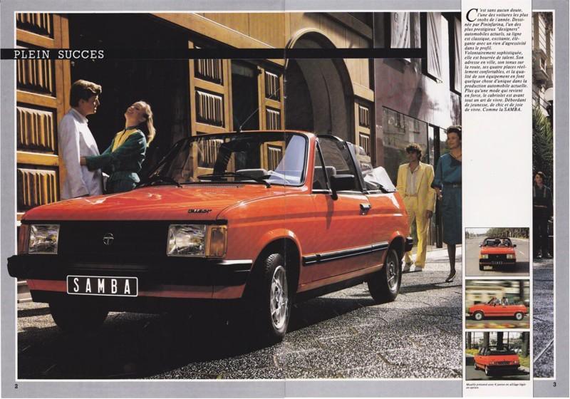 Catalogue commercial Samba Talbot Cabriolet 1983 Samba814