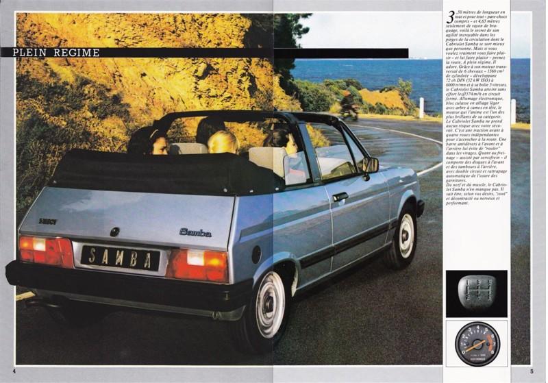 Catalogue commercial Samba Talbot Cabriolet 1983 Samba815