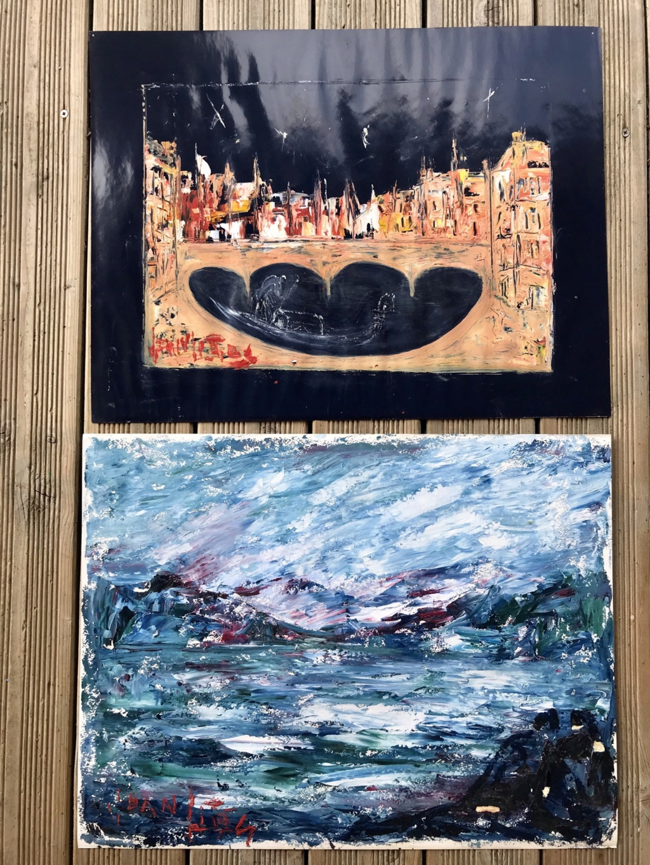 2 tableaux huile sur papier du même artiste F18b6610
