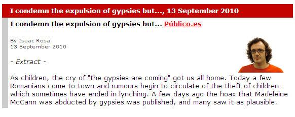 I condemn the expulsion of gypsies but... Público.es Gypsie10