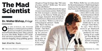 Un article sur Walter Bishop dans le mag US Rolling Stone !  Fringe11