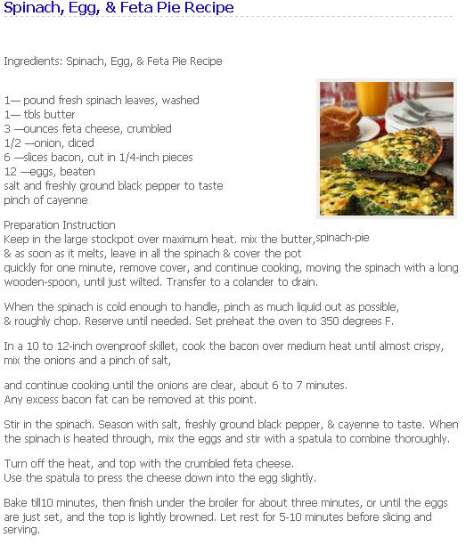 Recipe of Spinach, Egg & Feta Pie.. Spinac10