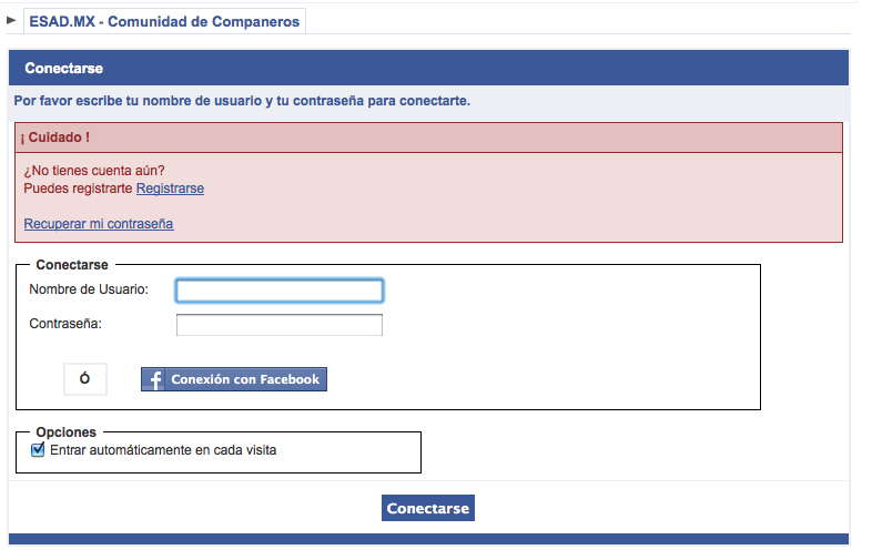 [Resuelto]¡Ya puedes conectarte con tu cuenta facebook a la comunidad ESADmx! Inicio12