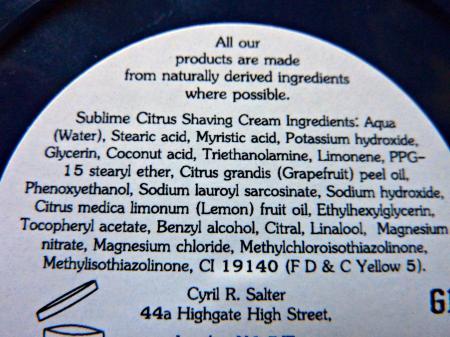Review shaving cream Cyril R.Salter Sublime citrus Ingrad10