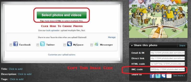 Uploading Photos Using Photo Bucket. P611