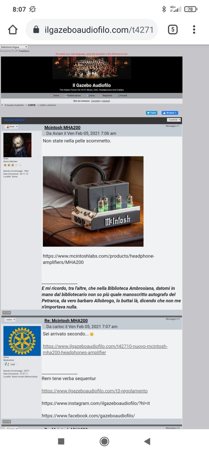 Nuovo McIntosh MHA200 headphones amplifier Screen80