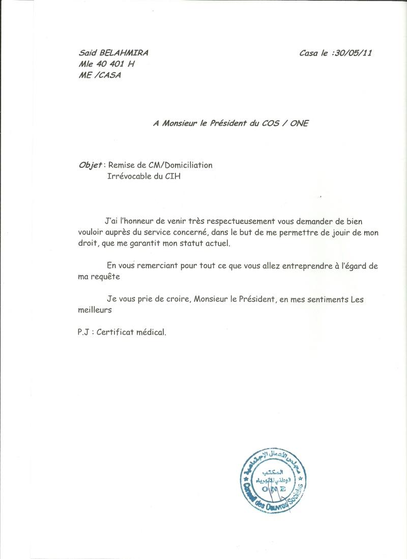 """A Monsieur le Directeur Gén""""ral de l'ONE Numari29"""