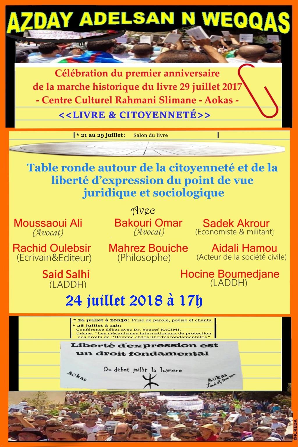 Mardi 24/07/2018 à 17h. Table ronde autour de la citoyenneté et de la liberté d'expression du point de vue juridique et sociologique. Mardi_10