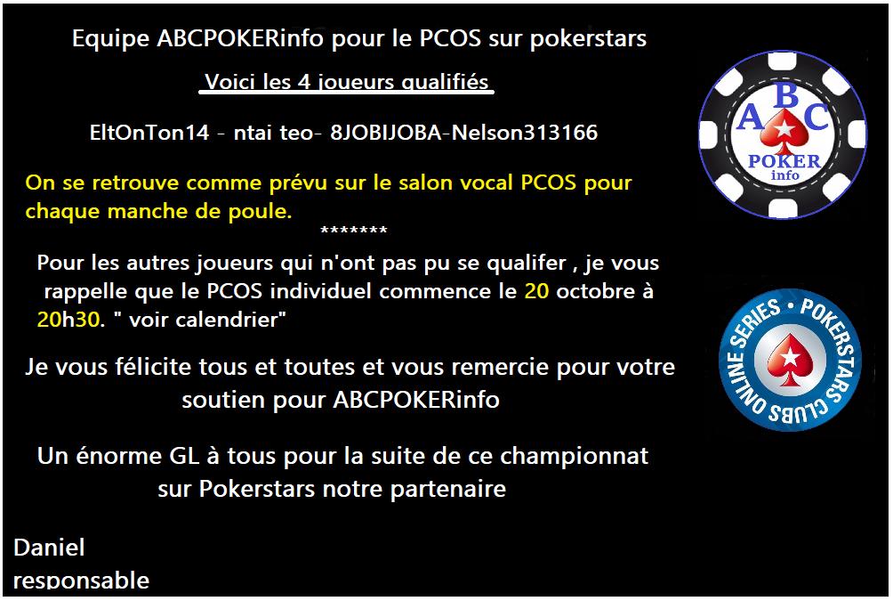 PCOS par équipe sur Pokerstars. Lettre10