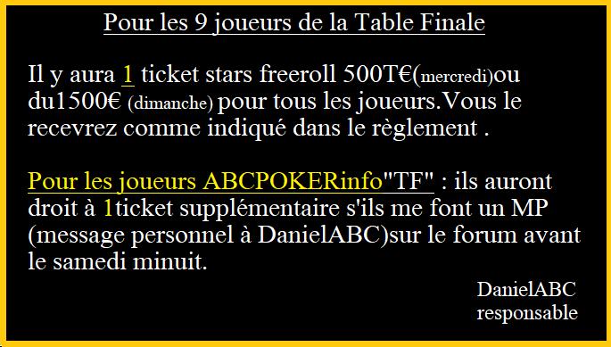 Tournoi ABCPOKERinfo le 15/10 à 21h00 sur pokerstars. Nouvel12