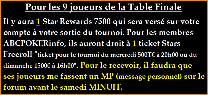 Tournoi ABCPOKERinfo le 25/06 à 21h00 sur pokerstars . Pourle10