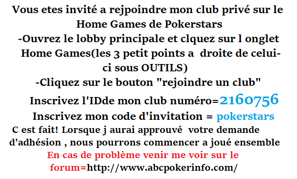 Ouverture Du Home Games ABCPOKERinfo sur Pokerstars  Repons15