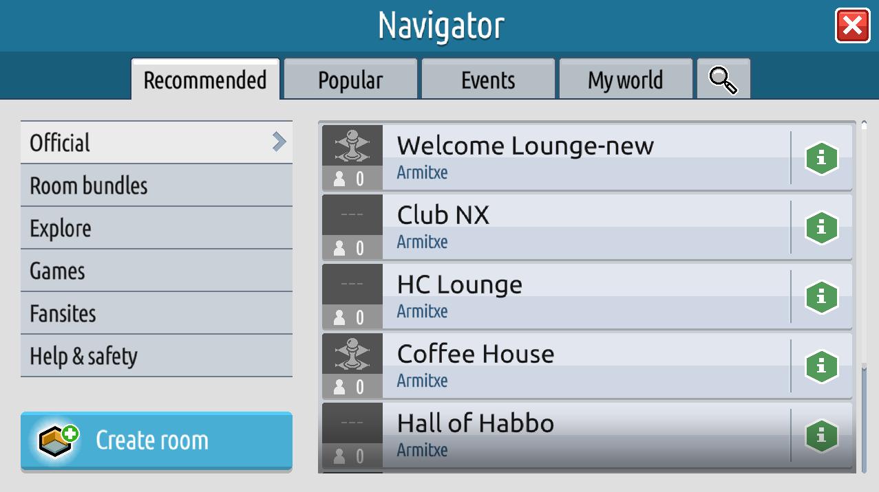 Il navigatore, gli eventi e le informazioni stanza su Habbo2020 Sche2517