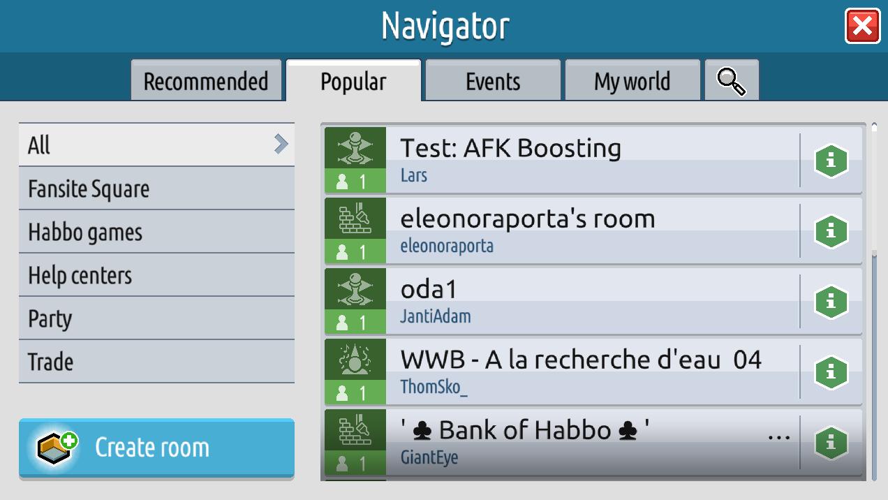 Il navigatore, gli eventi e le informazioni stanza su Habbo2020 Sche2518