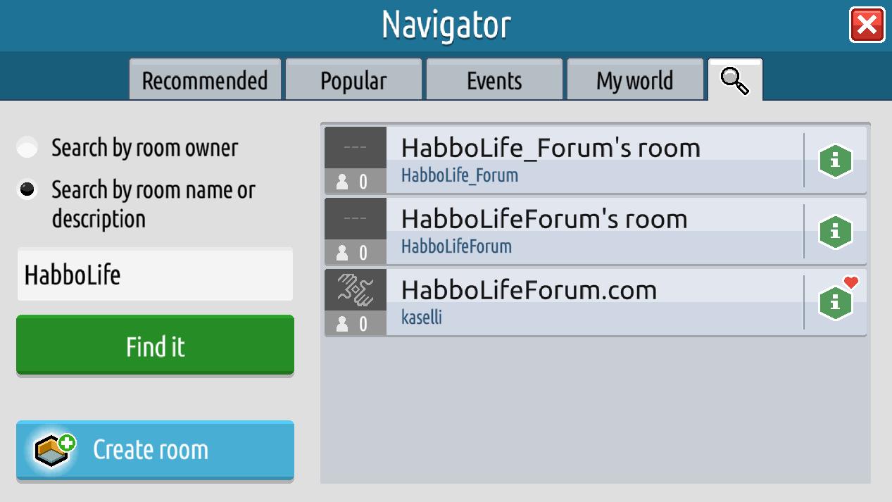 Il navigatore, gli eventi e le informazioni stanza su Habbo2020 Sche2522