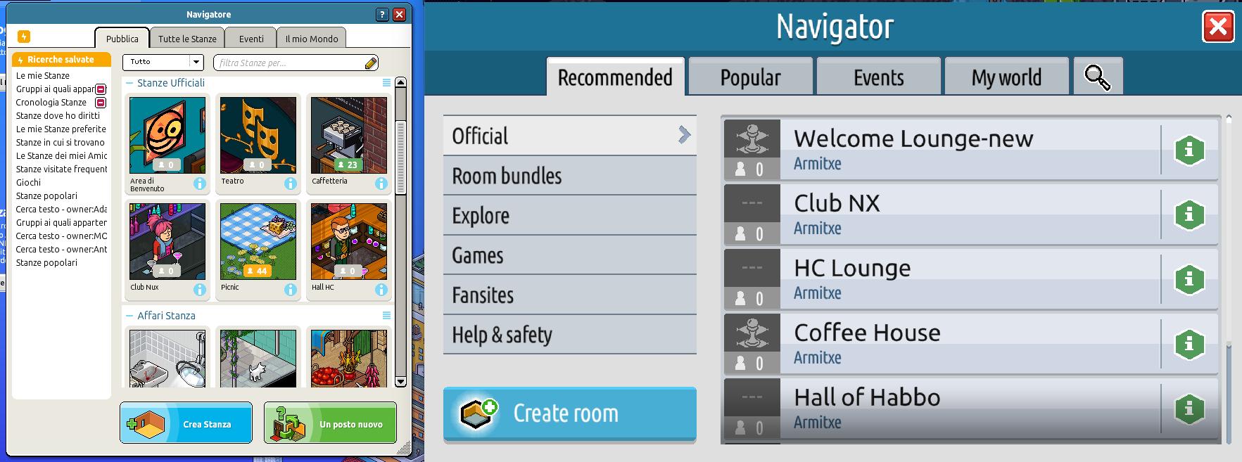 Il navigatore, gli eventi e le informazioni stanza su Habbo2020 Sche2525