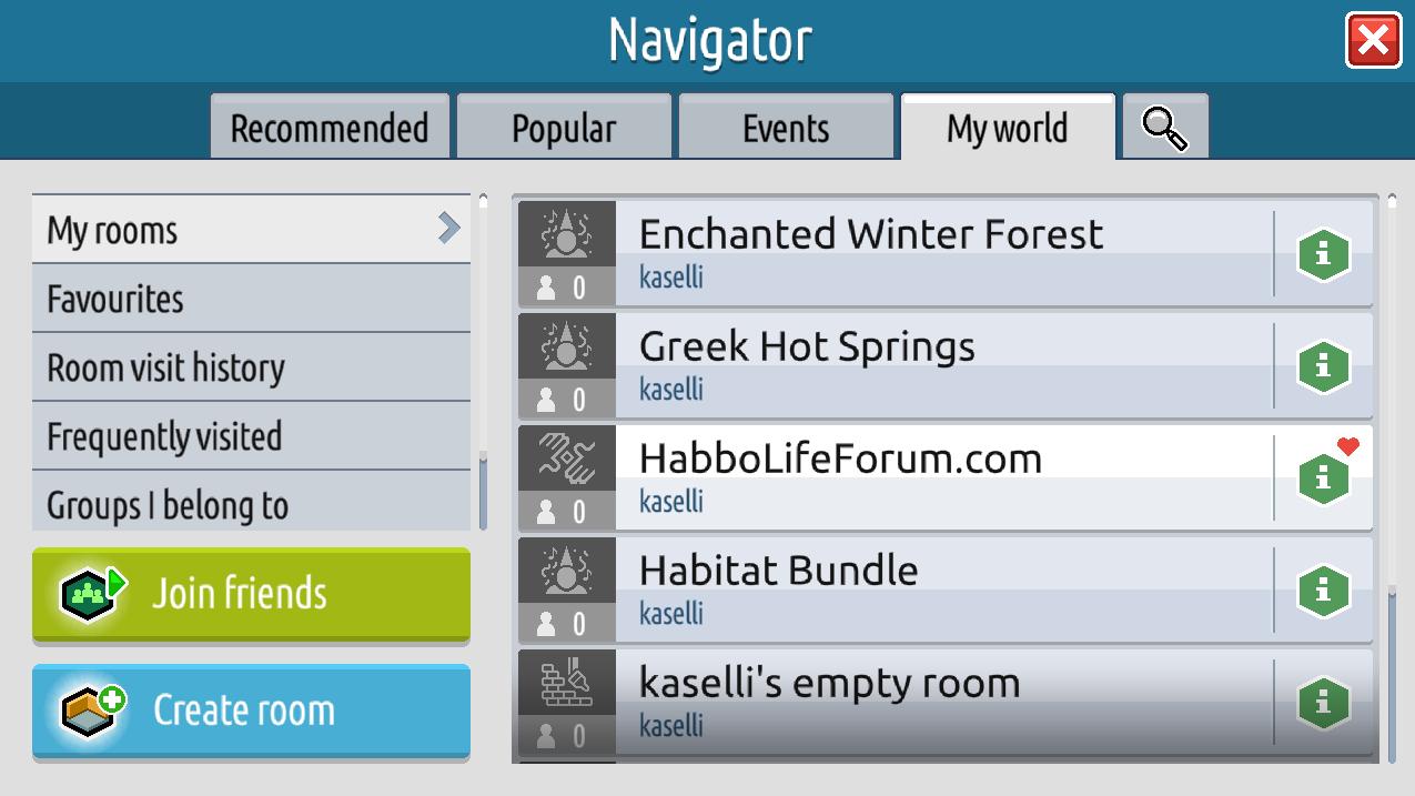 Il navigatore, gli eventi e le informazioni stanza su Habbo2020 Sche2526