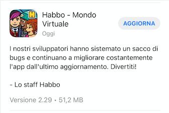 Aggiornamento v2.29 di Habbo su App Store Sche3009