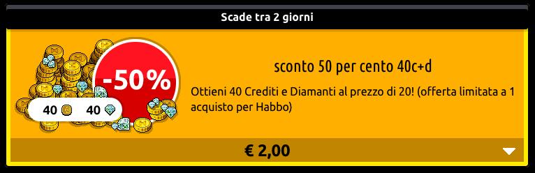 [ALL] Inserito sconto 50% crediti + diamanti su Habbo Scher770