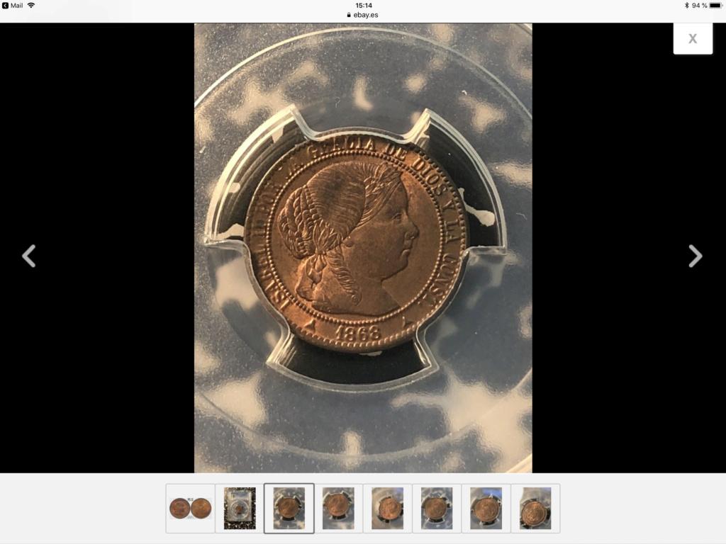 1868 1 céntimo de escudo de Segovia  B8e2b110