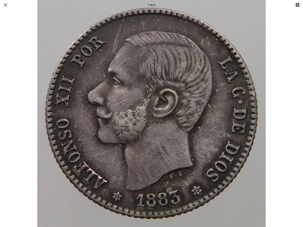 1883 MSM, 1 peseta Alfonso XII Ded37510