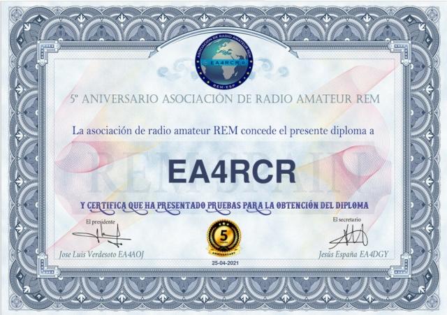 Diploma 5º Aniversario Asociación REM Diplom11