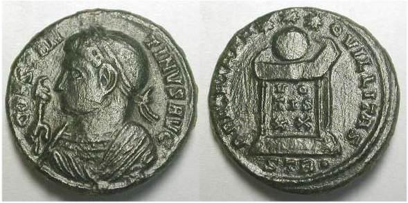 AE3 de Constantino I. BEATA TRANQVILLITAS. Trier _trier12