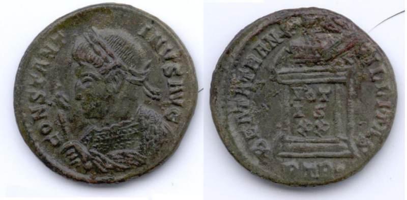 AE3 de Constantino I. BEATA TRANQVILLITAS. Trier _trier13