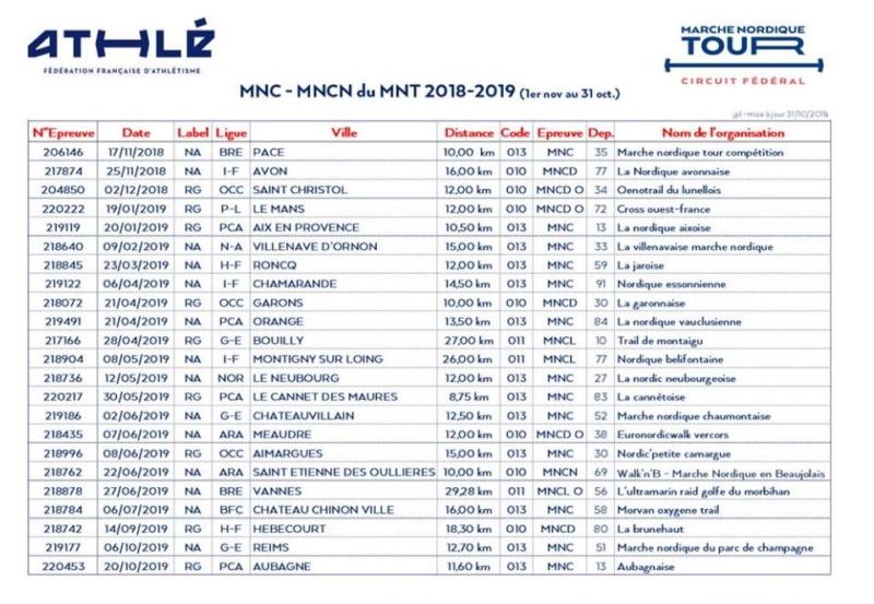 Calendrier Marche Nordique 2020.Calendrier Marche Nordique Tour 2018 2019