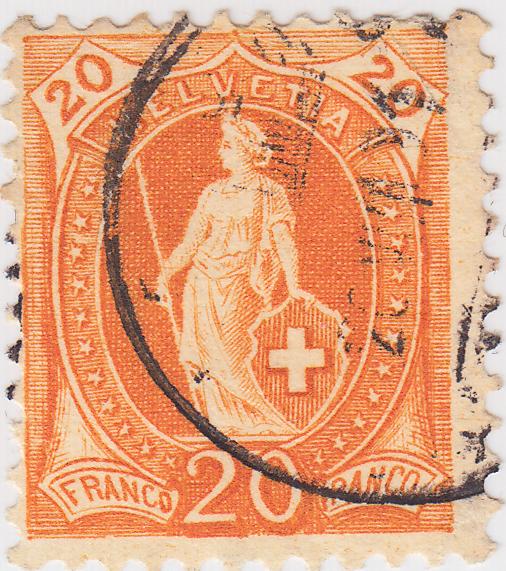 SBK 66A, Stehende Helvetia 20 Rappen 73e-p210