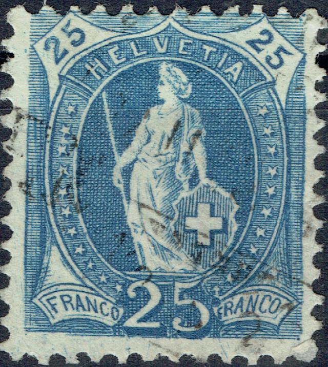 SBK 73E, Stehende Helvetia 25 Rappen 73e-r010