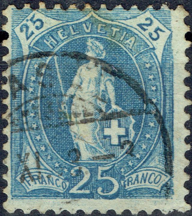 SBK 73E, Stehende Helvetia 25 Rappen 73e-r110