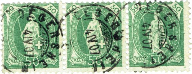 SBK 90A Stehende Helvetia 50Rp. grün 90c-3-10