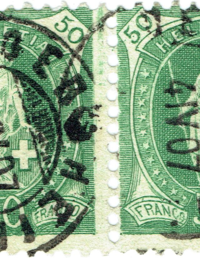 SBK 90A Stehende Helvetia 50Rp. grün 90c-fa10