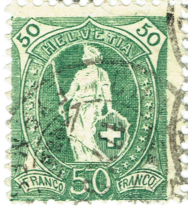 SBK 98A Stehende Helvetia 50Rp grün 98a-3_11
