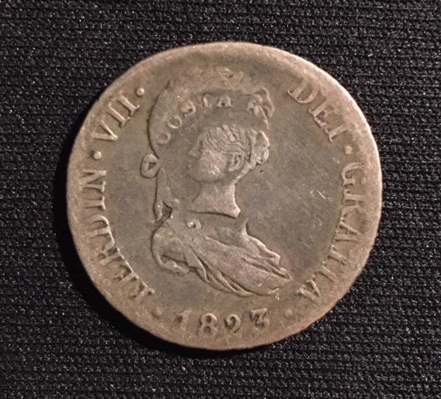 2 reales 1823. Fernando VII. Resello Costa Rica Image210