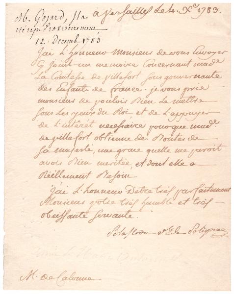 Lettre de la duchesse de Polignac à Monsieur de Calonne I0113010