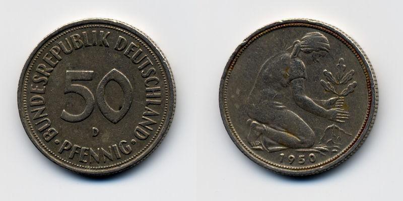 Alemania, 50 Pfennig, (varias cecas fechas) 800px-10