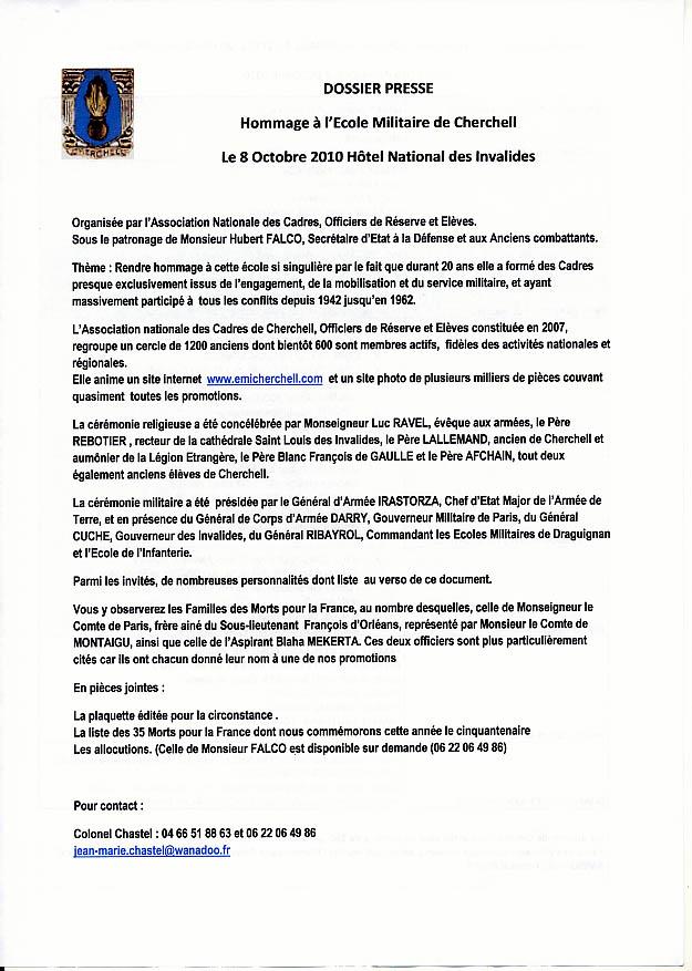 Dossier de Presse: Cérémonie INVALIDES Cherchell Ecole oubliée 8/10/10 Cherch10