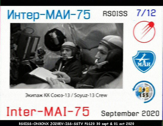 Activité SSTV depuis ISS  DATE : du 04/10/2020 au 08/10/2020 20H00 07_12_11