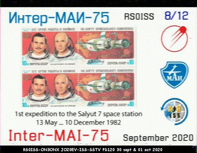 Activité SSTV depuis ISS  DATE : du 04/10/2020 au 08/10/2020 20H00 08_12_11