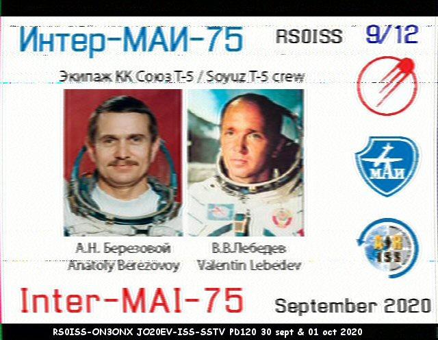 Activité SSTV depuis ISS  DATE : du 04/10/2020 au 08/10/2020 20H00 09_12_11