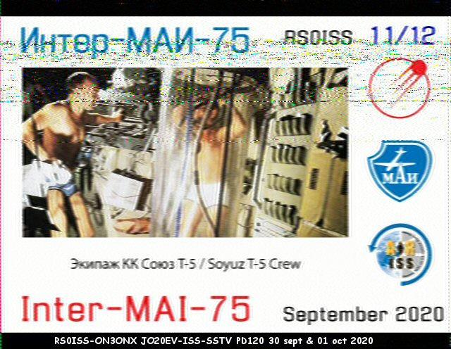 Activité SSTV depuis ISS  DATE : du 04/10/2020 au 08/10/2020 20H00 11_12_10