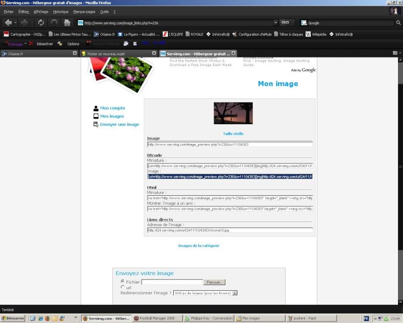 tutorial de postage d'une image si vous êtes inscrit à SERVIMG Poster13