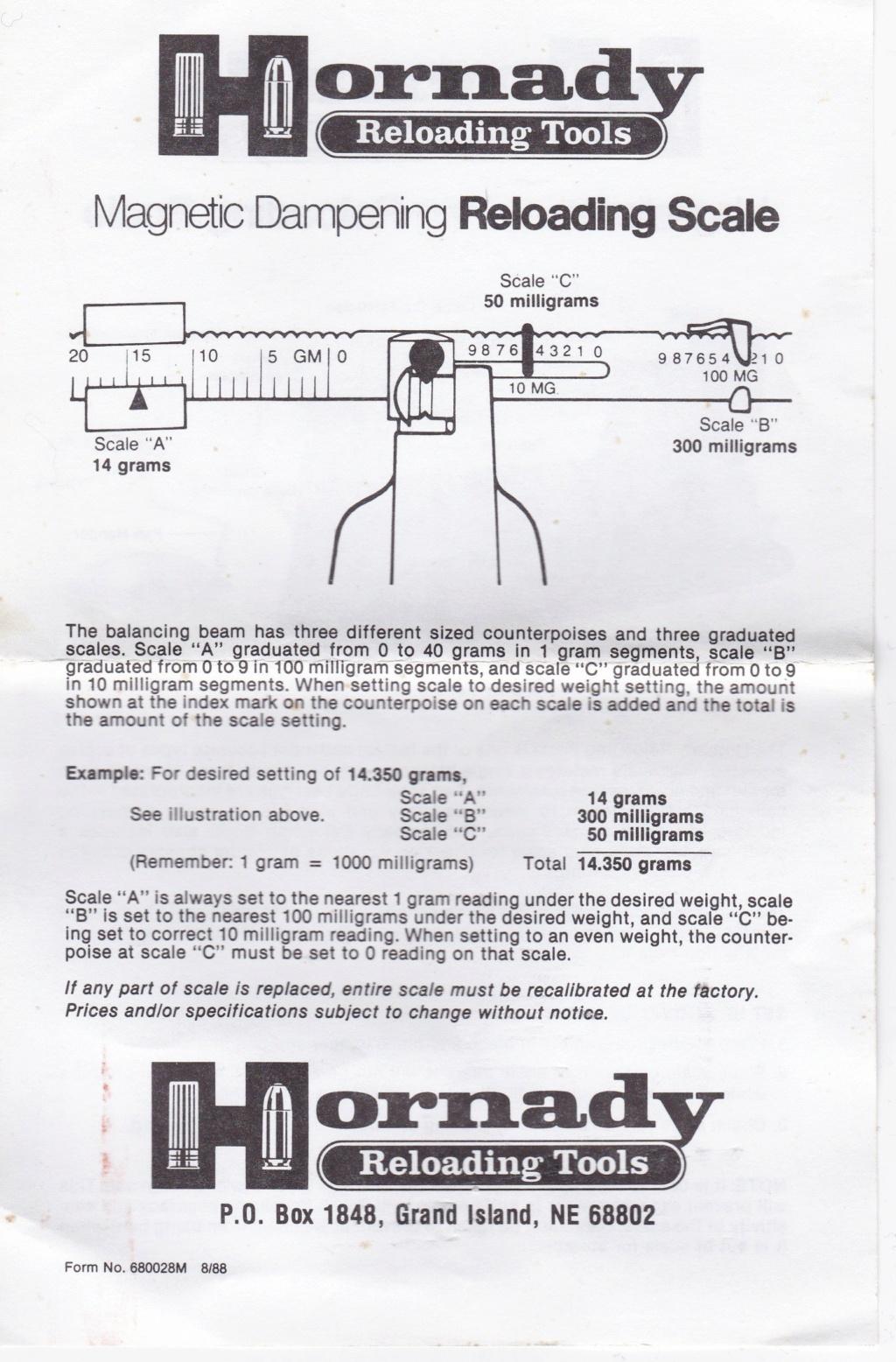 "Notice (en anglais) pour balance HORNADY ""Pacific"" (en gramme) Hornad10"