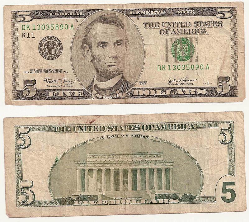 Billete 5 dólares americanos 5_doll10